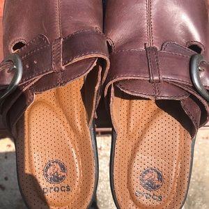CROCS Dark Brown Leather Clogs
